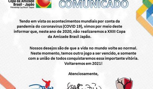 Edição de 2020 da Copa da Amizade Brasil-Japão é cancelada
