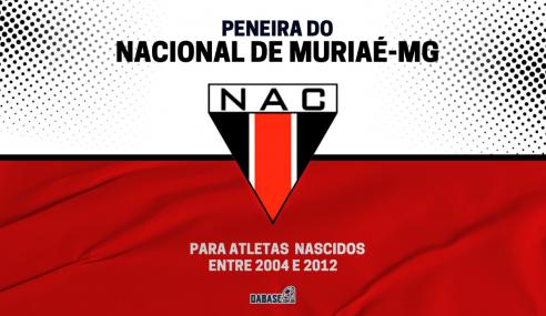 Nacional de Muriaé-MG realizará peneira para quatro categorias