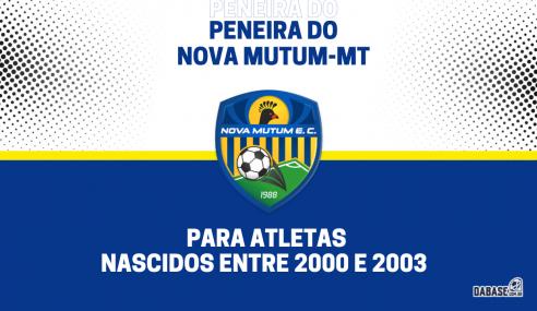 Nova Mutum-MT realizará peneira para a equipe sub-20