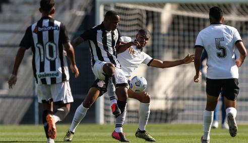 Corinthians leva virada, mas marca no fim e empata com o Ceará pelo Brasileirão de Aspirantes