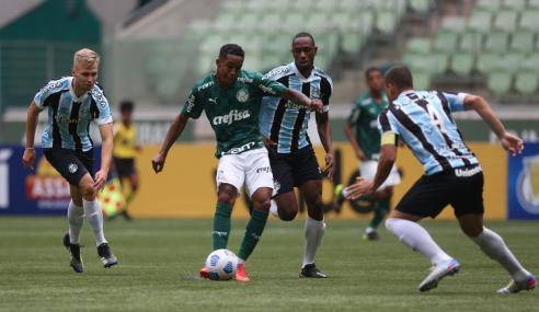 Grêmio leva 2 a 0, vira, mas Palmeiras busca empate pelo Brasileirão Sub-20
